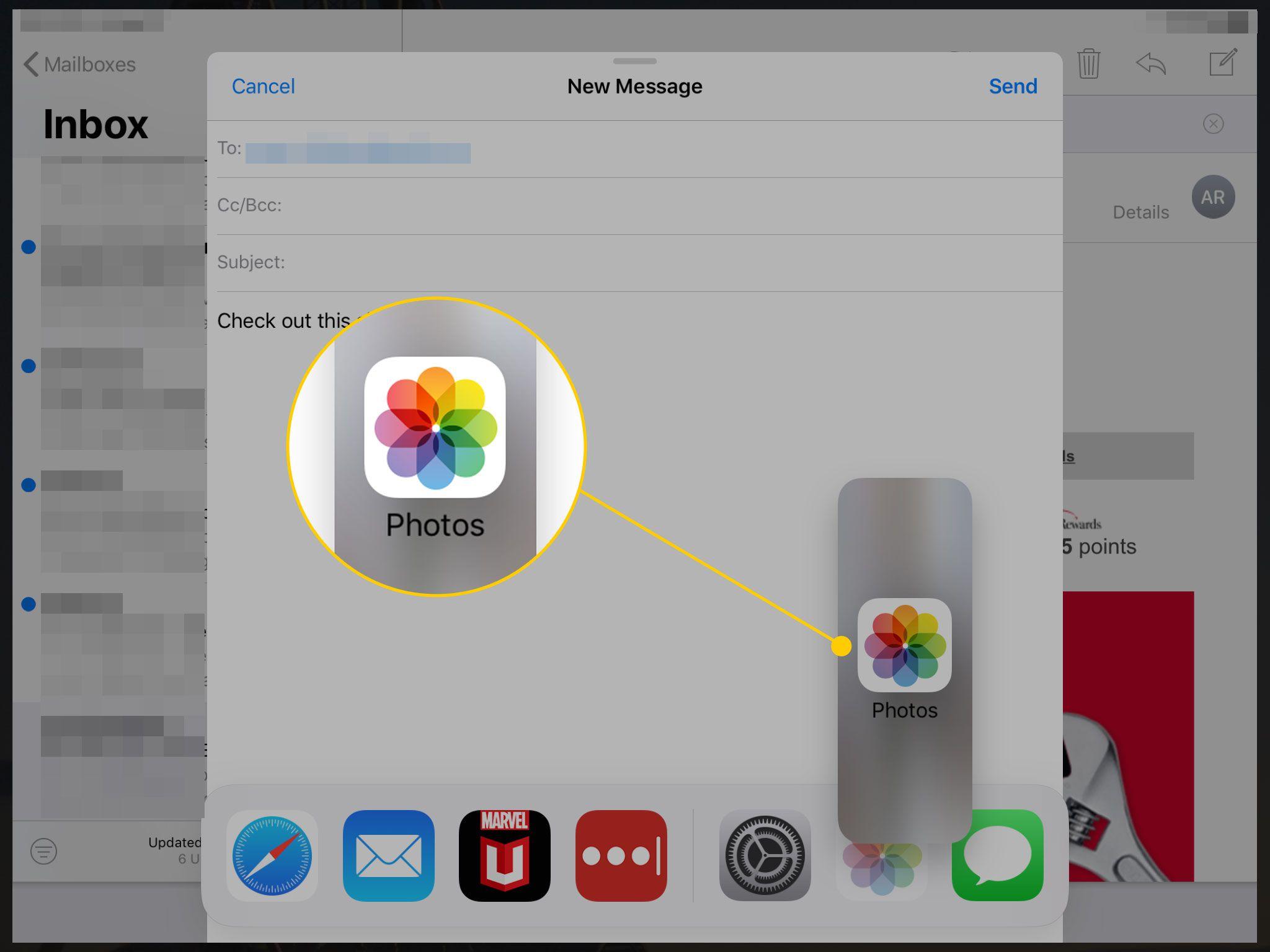 Открытое на iPad электронное письмо с фотографиями, выделенными в прямоугольнике