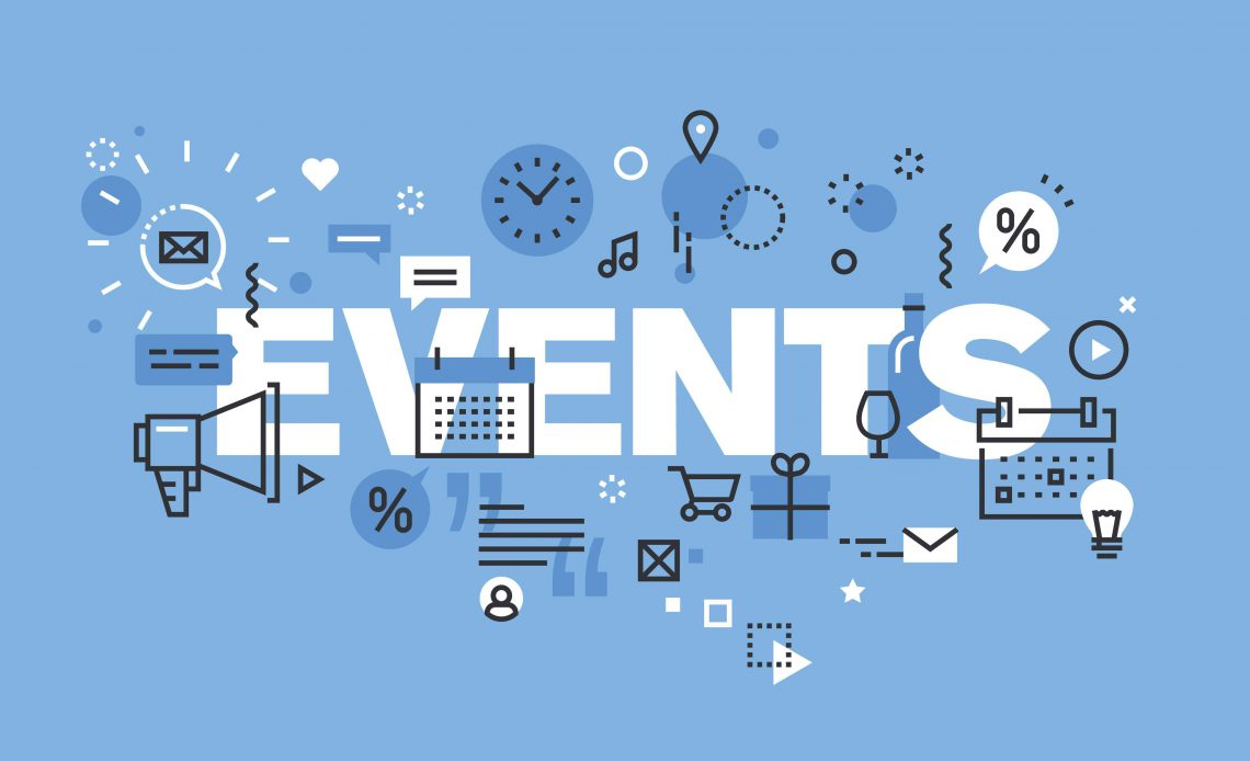Modern thin line design concept for EVENTS website banner