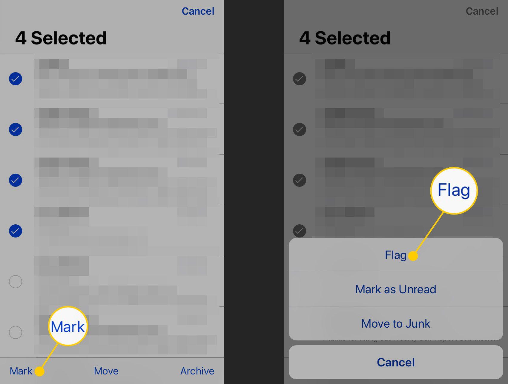 Пометка сообщений в Mail на iPhone