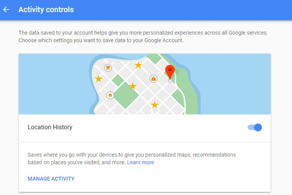Снимок экрана Google Location History на экране компьютера