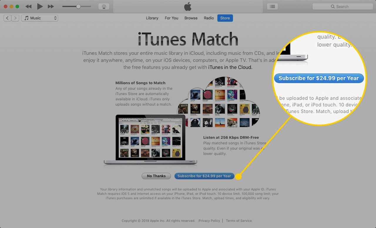 Экран iTunes Match с выделенной кнопкой «Подписаться»