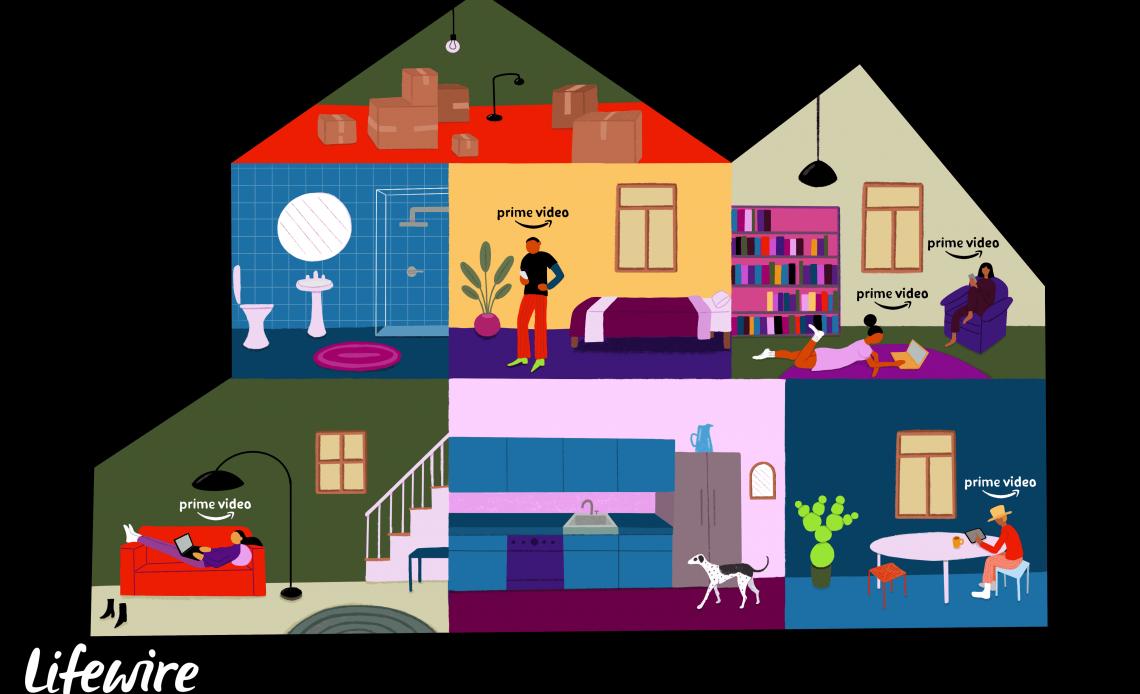 Несколько членов семьи смотрят Amazon Prime Video в разных комнатах дома