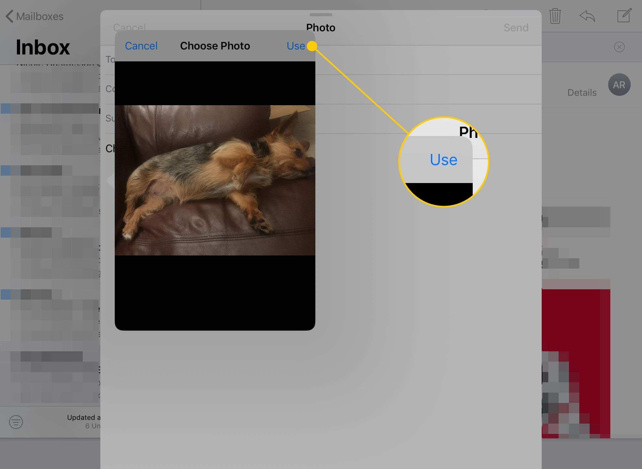 Окно выбора фотографии, открытое в электронном письме на iPad с выделенной кнопкой «Использовать»