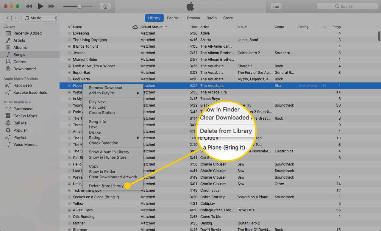 Меню песни в iTunes с выделенным «Удалить из библиотеки»