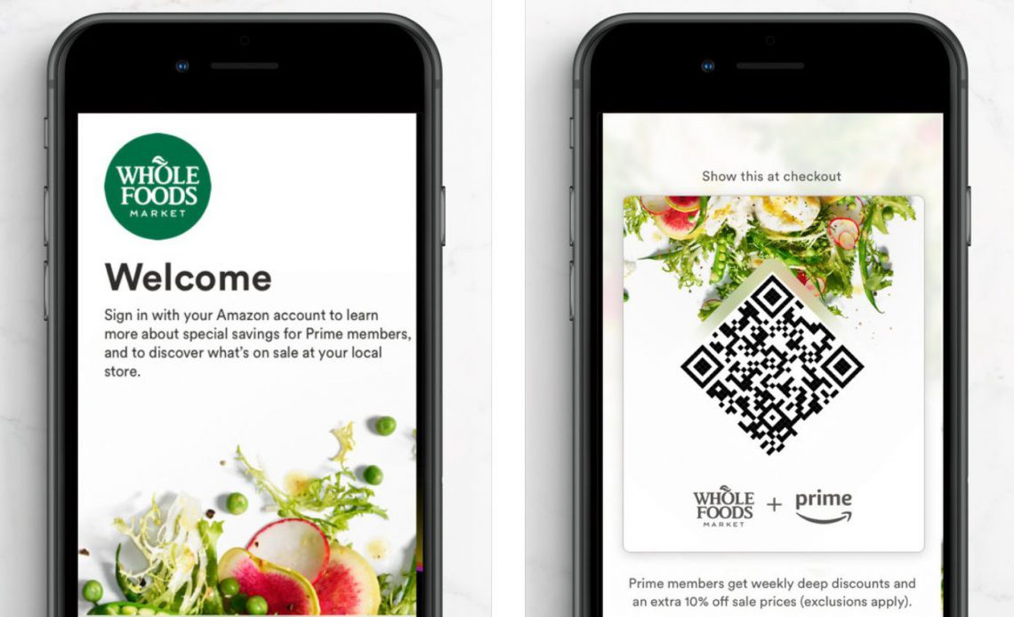 Приложение Whole Foods на смартфоне с экраном входа и QR-кодом