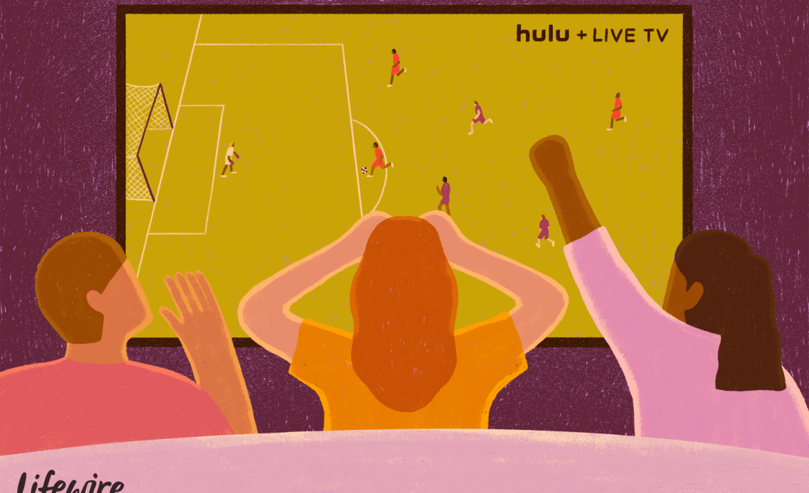 Три человека смотрят футбольный матч по Hulu + Live TV
