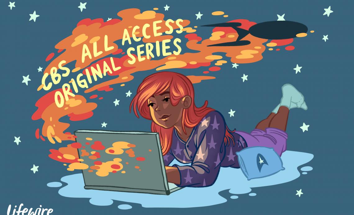 Иллюстрация человека, наблюдающего за Star Trek через CBS All Access на своем ноутбуке