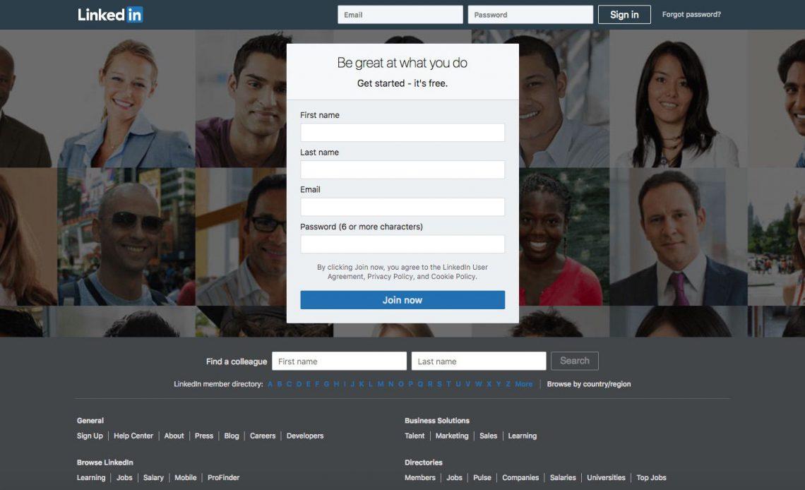 Сайт LinkedIn