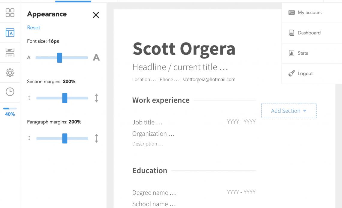 Скриншот VisualCV