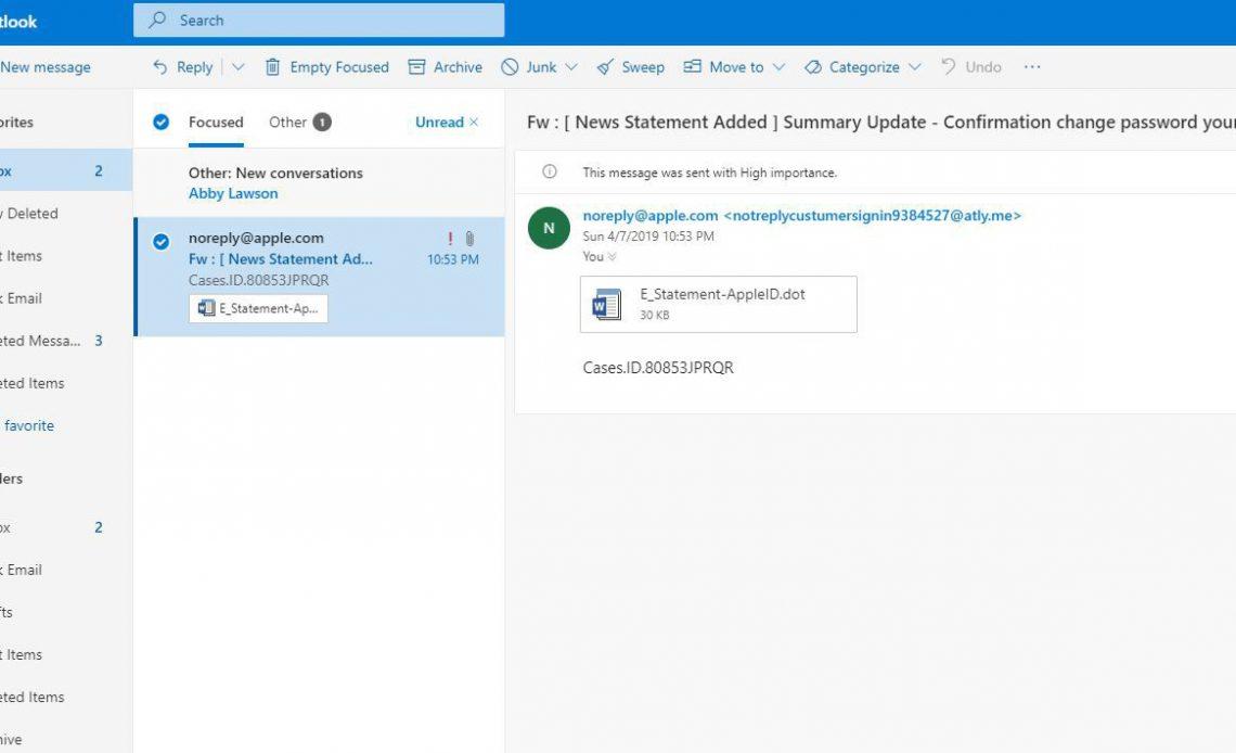 Нежелательное почтовое сообщение в Outlook.com