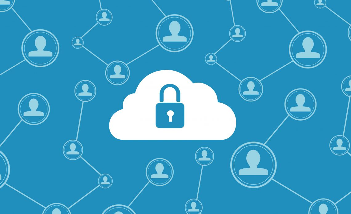 Изображение замка в облаке, представляющее безопасность в стиле VPN в Интернете