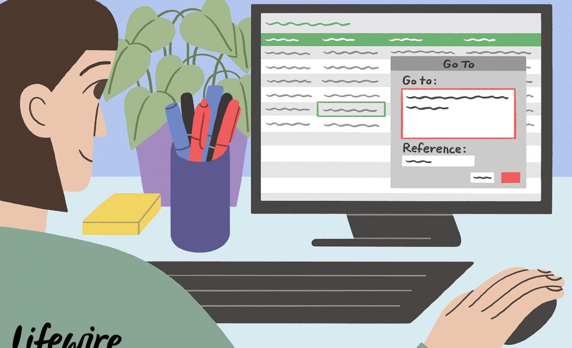 Иллюстрация человека, перемещающегося между листами в Excel
