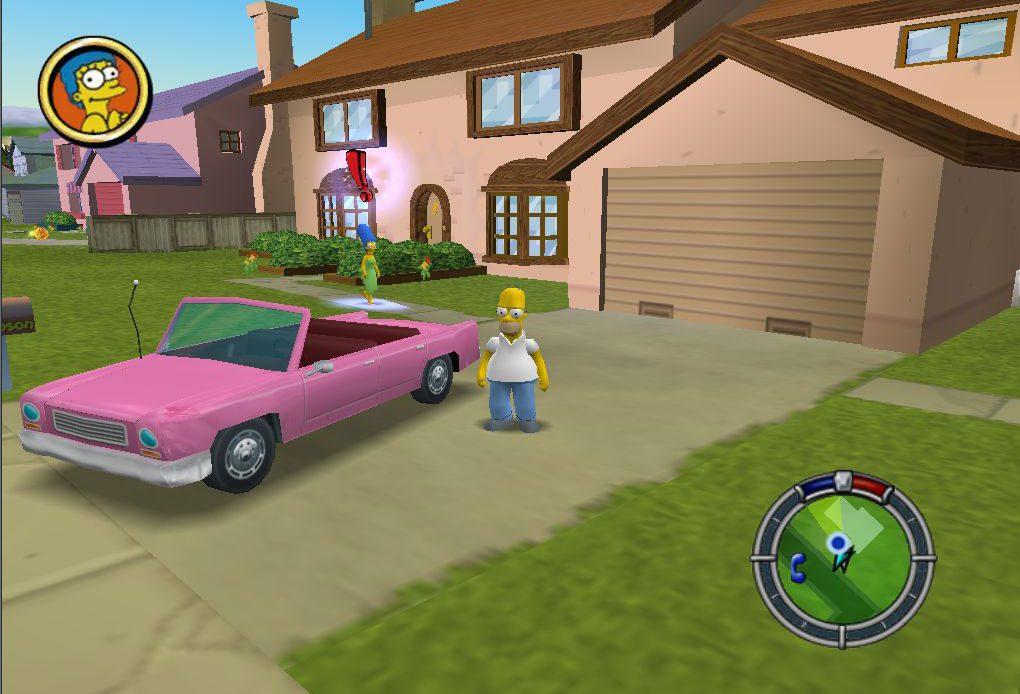 Гомер стоит у своей машины в «Симпсонах: беги и беги».