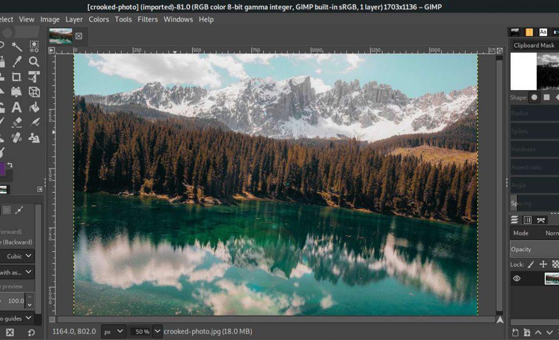 Фотография открыта в GIMP
