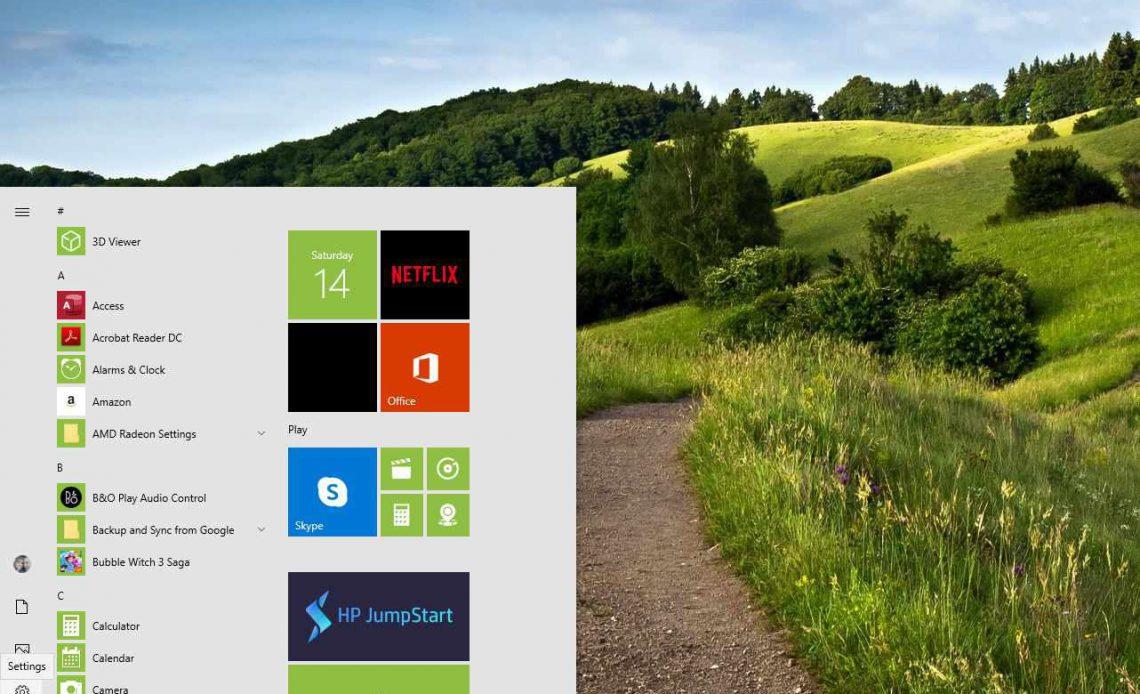 Настройки в меню «Пуск» Windows 10