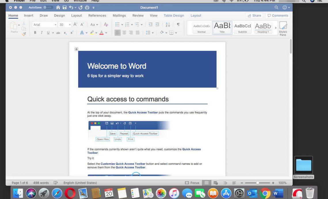 Документ Word в Office 365 для Mac.