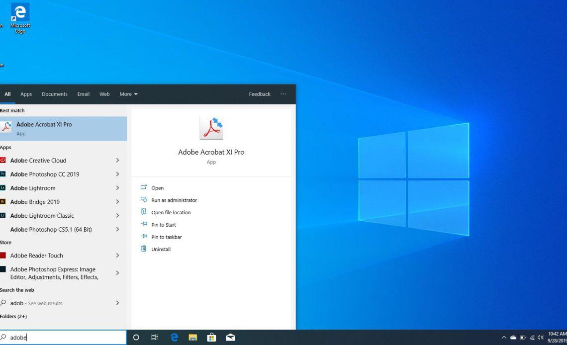 Поиск Adobe Acrobat в Windows 10