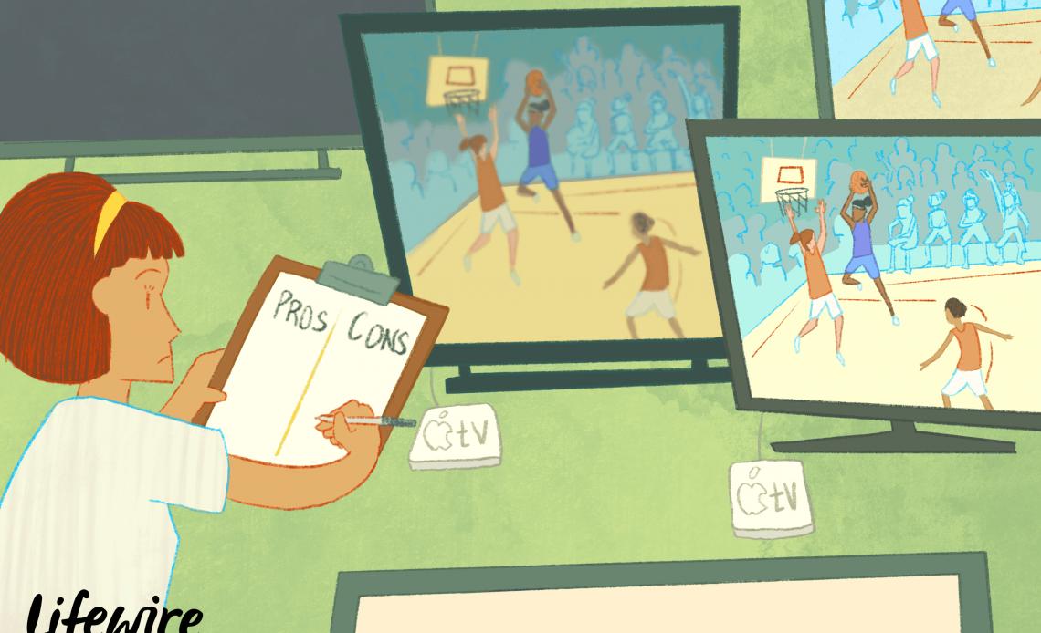 Иллюстрация человека, сравнивающего плюсы и минусы разных моделей Apple TV