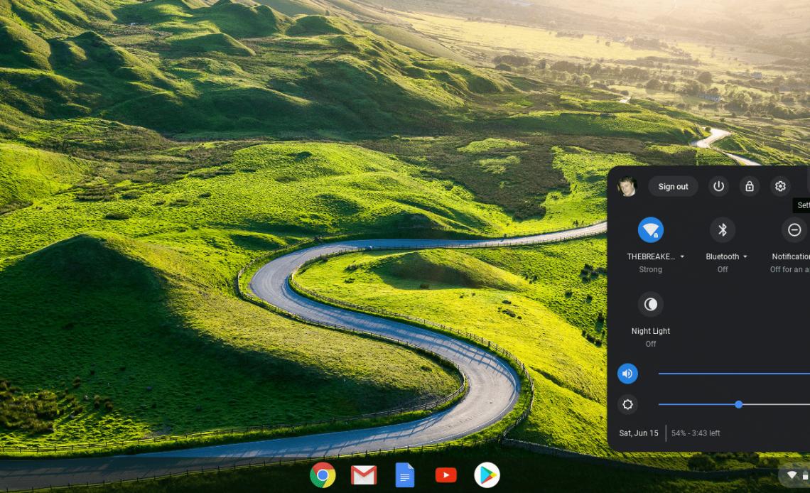 Снимок экрана с меню панели задач Chrome OS.