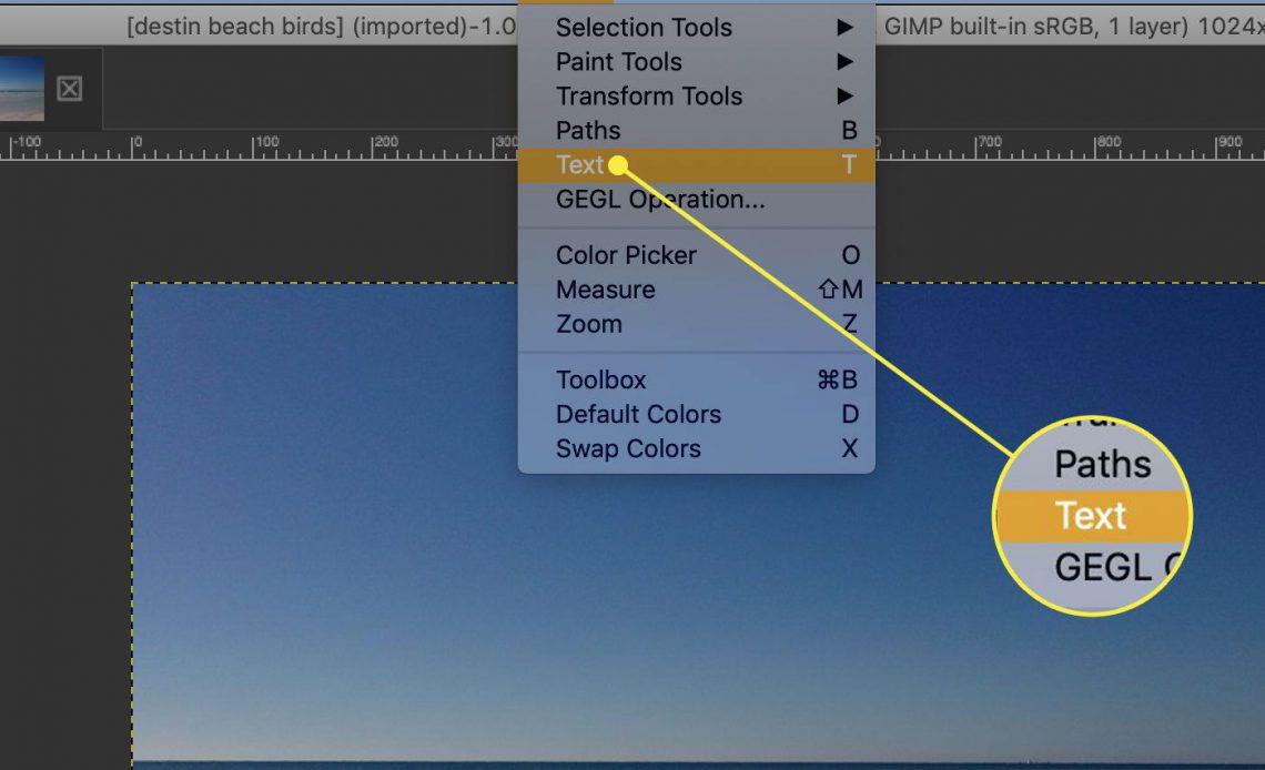 """Снимок экрана GIMP с выделенным параметром """"Текст"""" в меню """"Инструменты"""""""