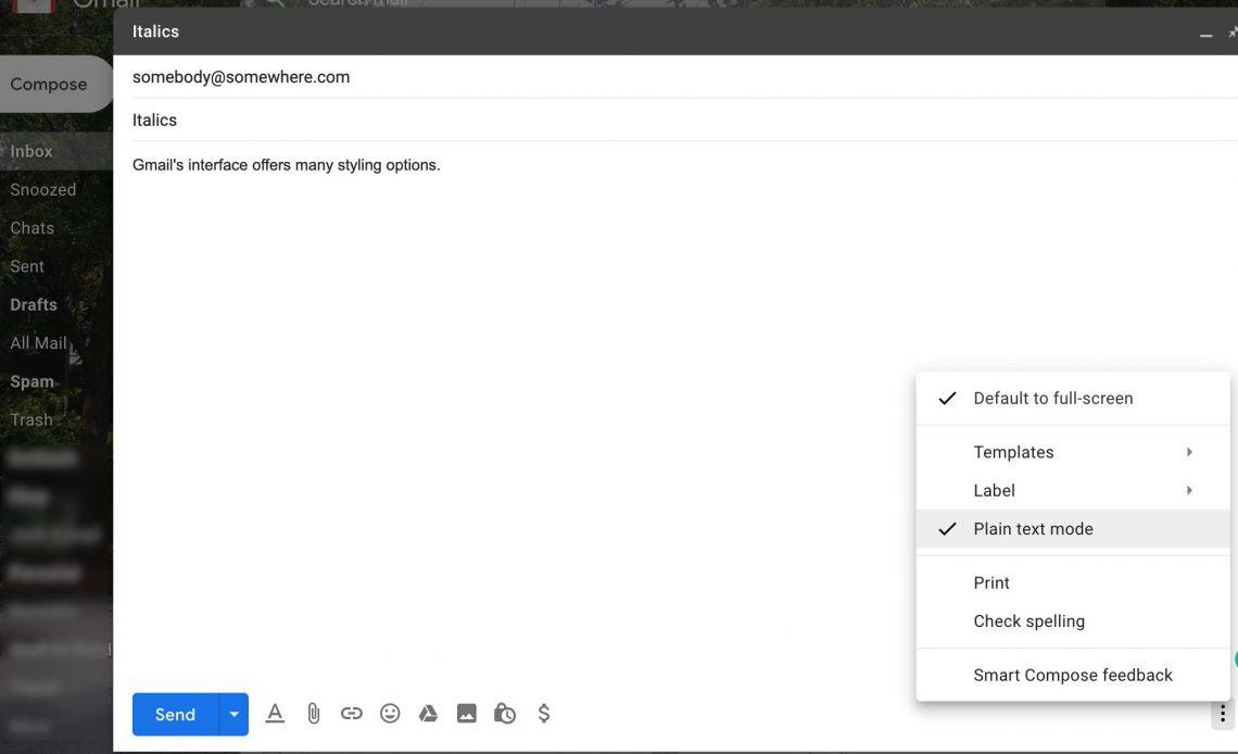 Выбор простого текстового режима в Gmail