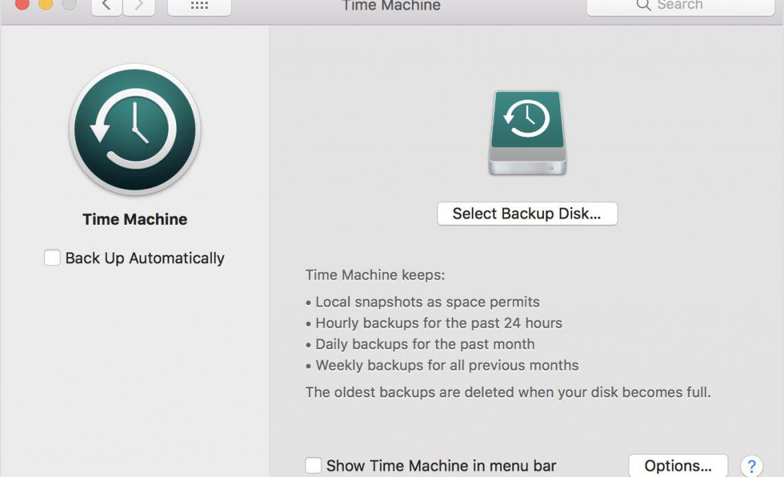 Скриншот настроек Time Machine