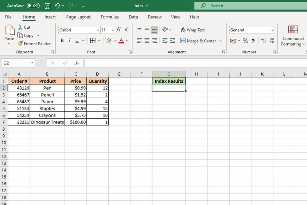 Функция INDEX в Excel