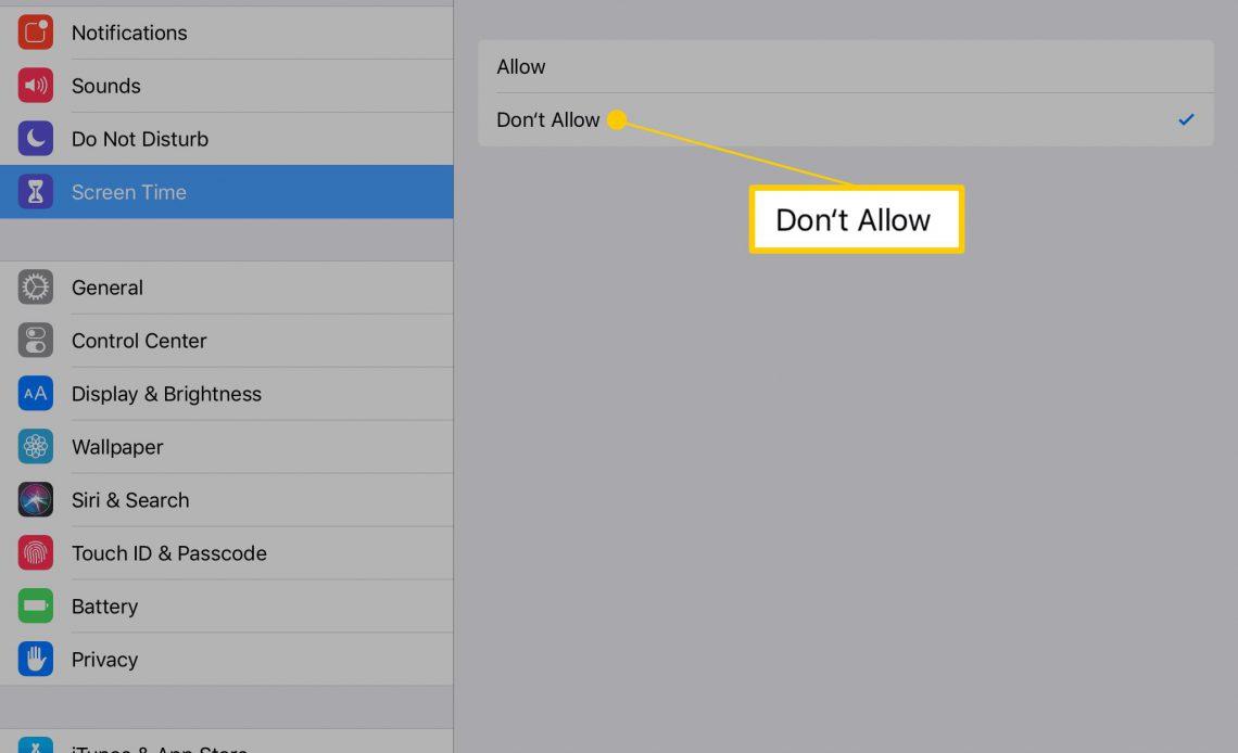 Опция «Не разрешать» для покупок из приложения в iOS