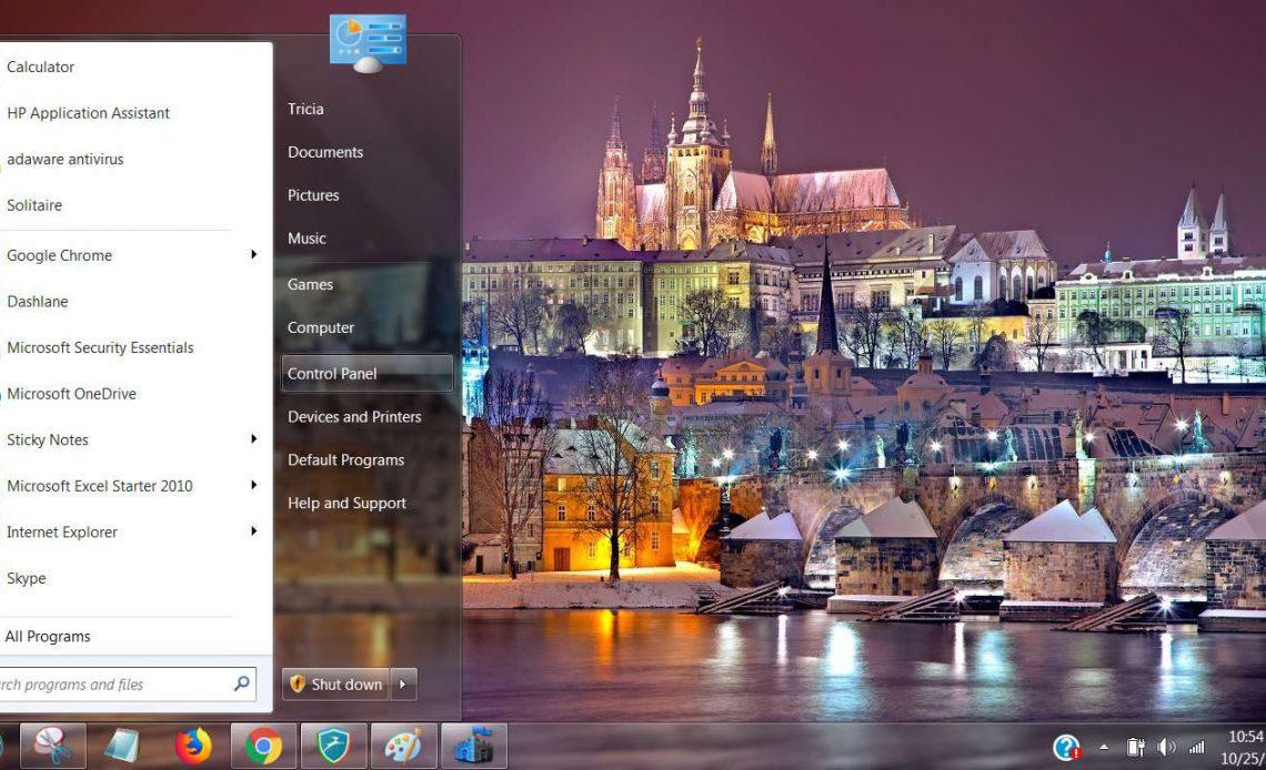 Панель управления в меню Пуск Windows