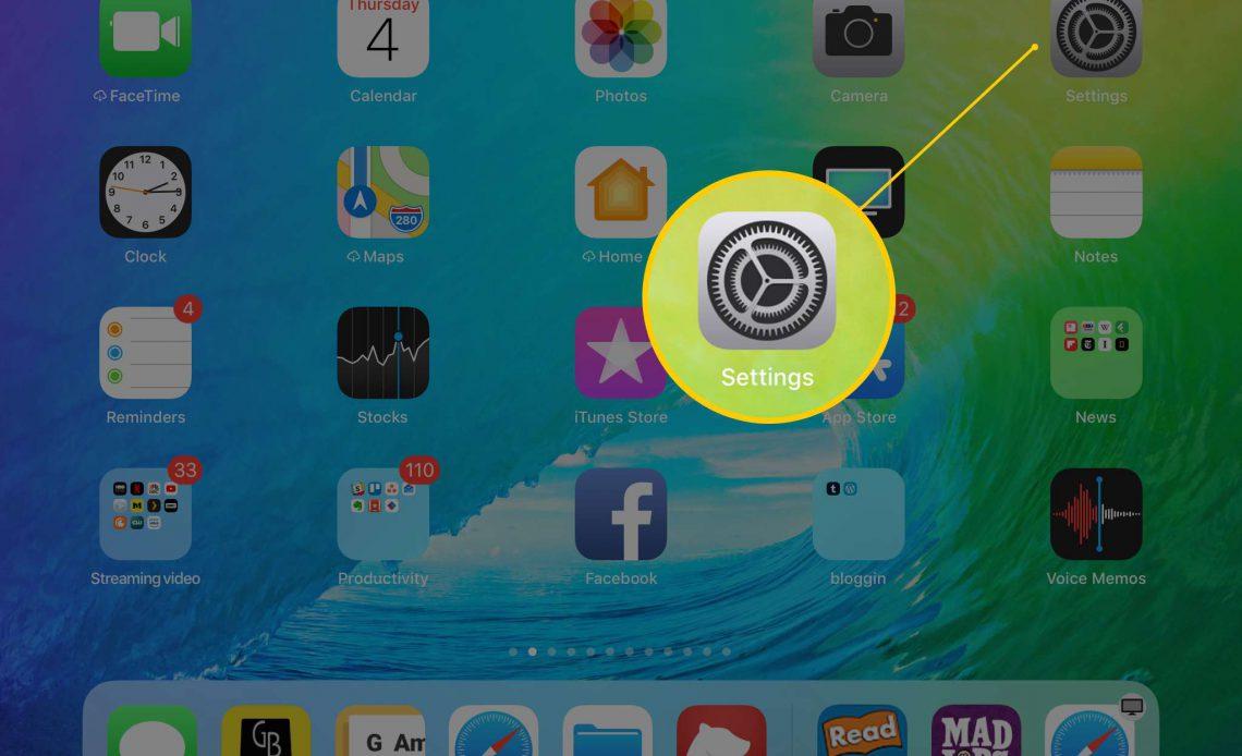 Вызов приложения Настройки на экране iPad