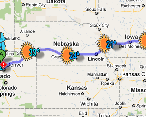 Wunderground Road Trip Карты Погода на вашем маршруте [только для США]