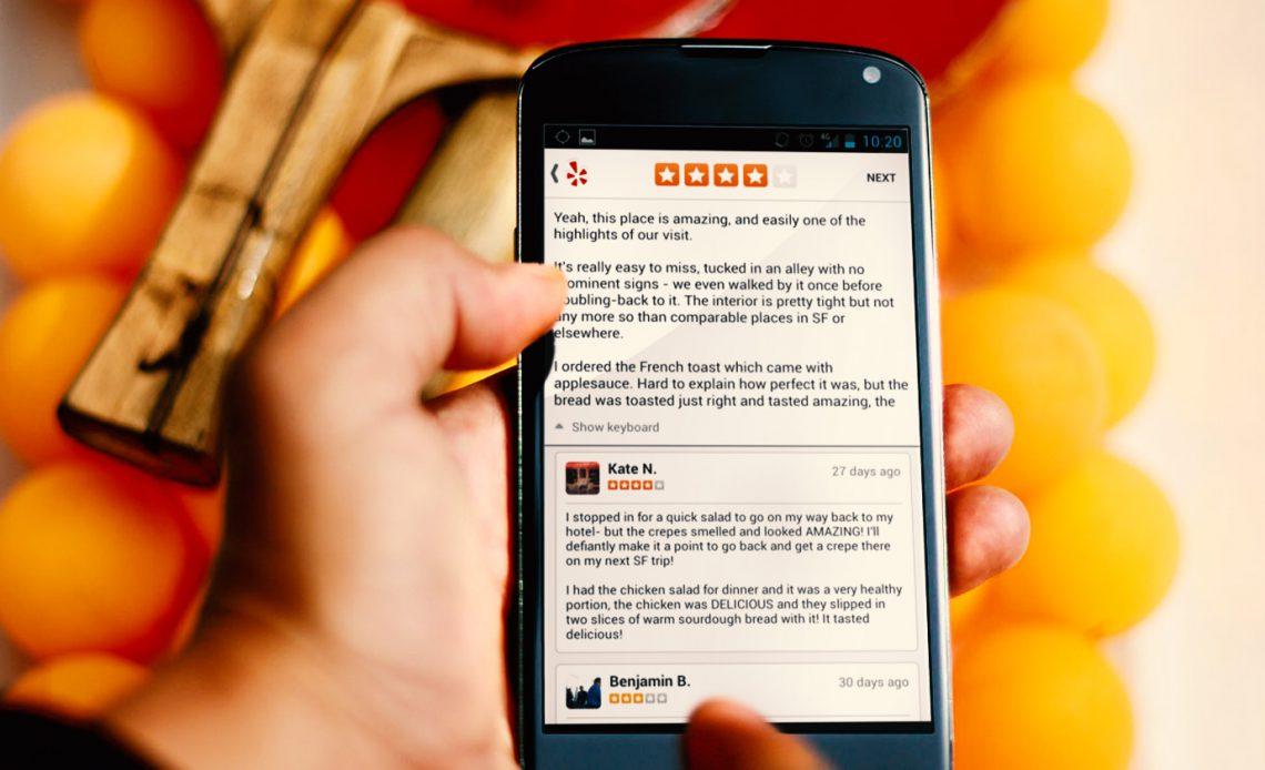 Наконец-то можно публиковать обзоры Yelp с Android-устройств