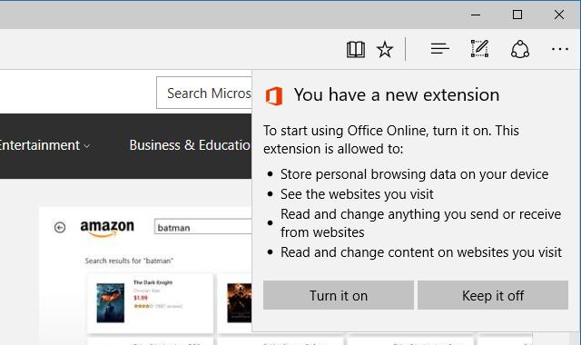 Microsoft Edge Включить расширение