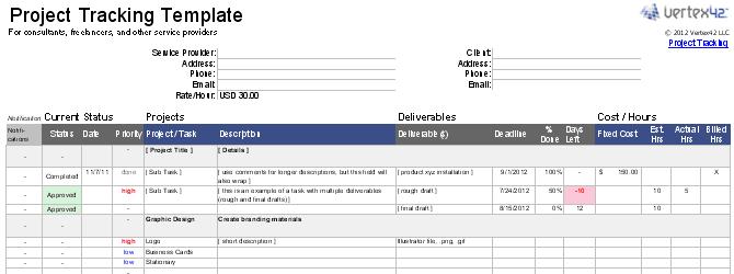 Шаблон Excel для отслеживания нескольких клиентов, проектов или результатов.