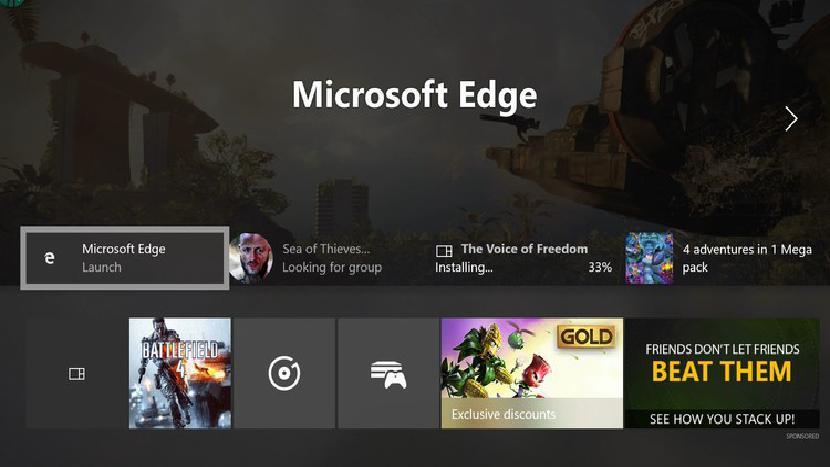 Панель управления Xbox One