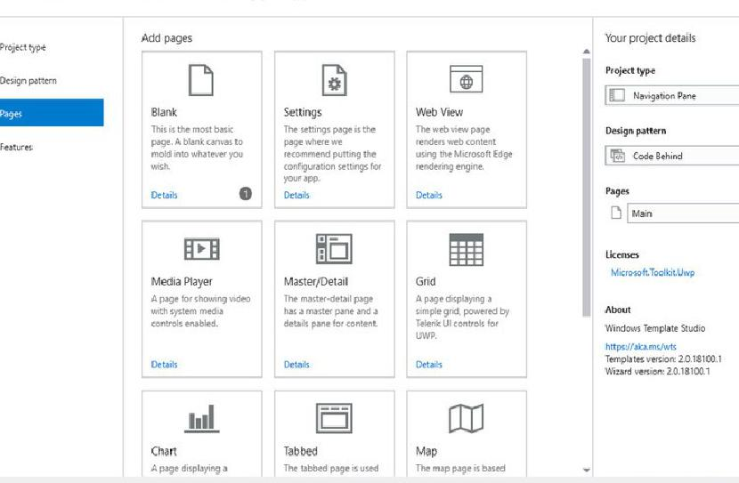 Windows Template Studio исправляет ошибки интерфейса при переходе на версию 2.0