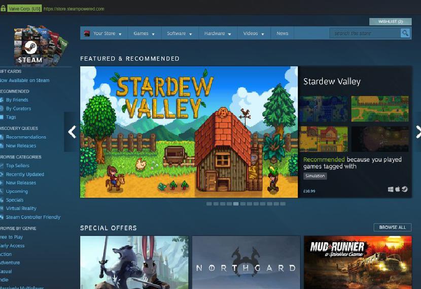 Steam Store homepage