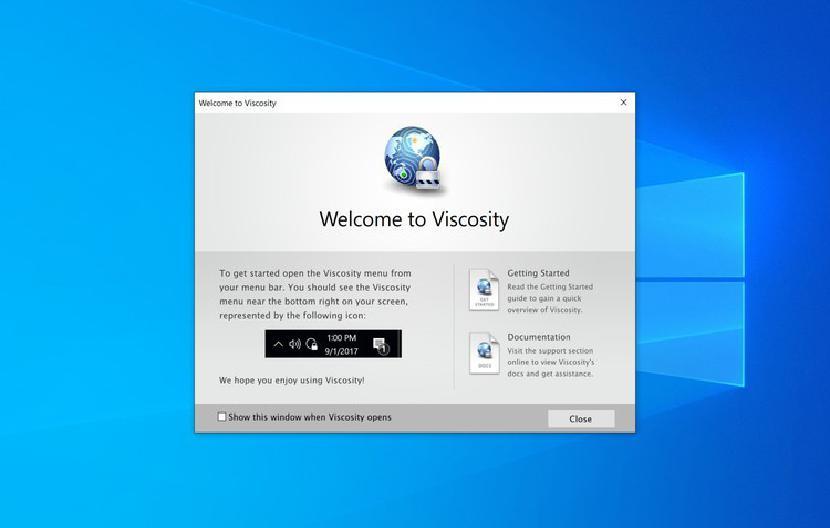 Viscosity welcome screen