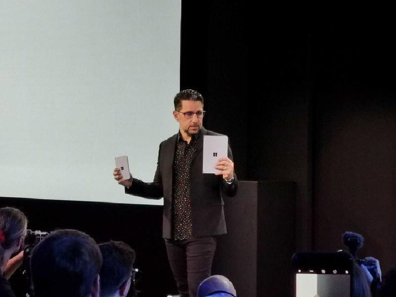 Panos Panay on stage with Surface Neo and Surface Duo