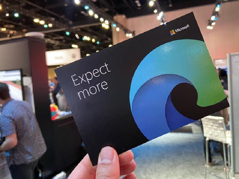 Microsoft Edge logo on card